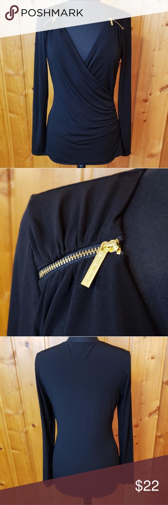 Michael Kors Zipper Detail Ruched Top Michael Kors