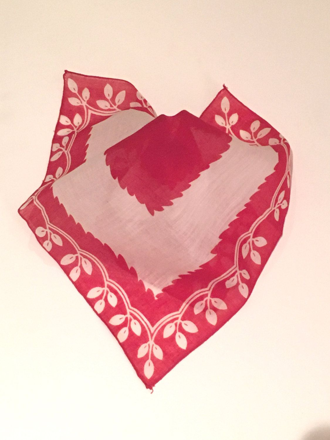 Vintage Red and White Handkerchief, Leaf Pattern, Valentine Handkerchief, Red Handkerchief by CobbledStreets on Etsy