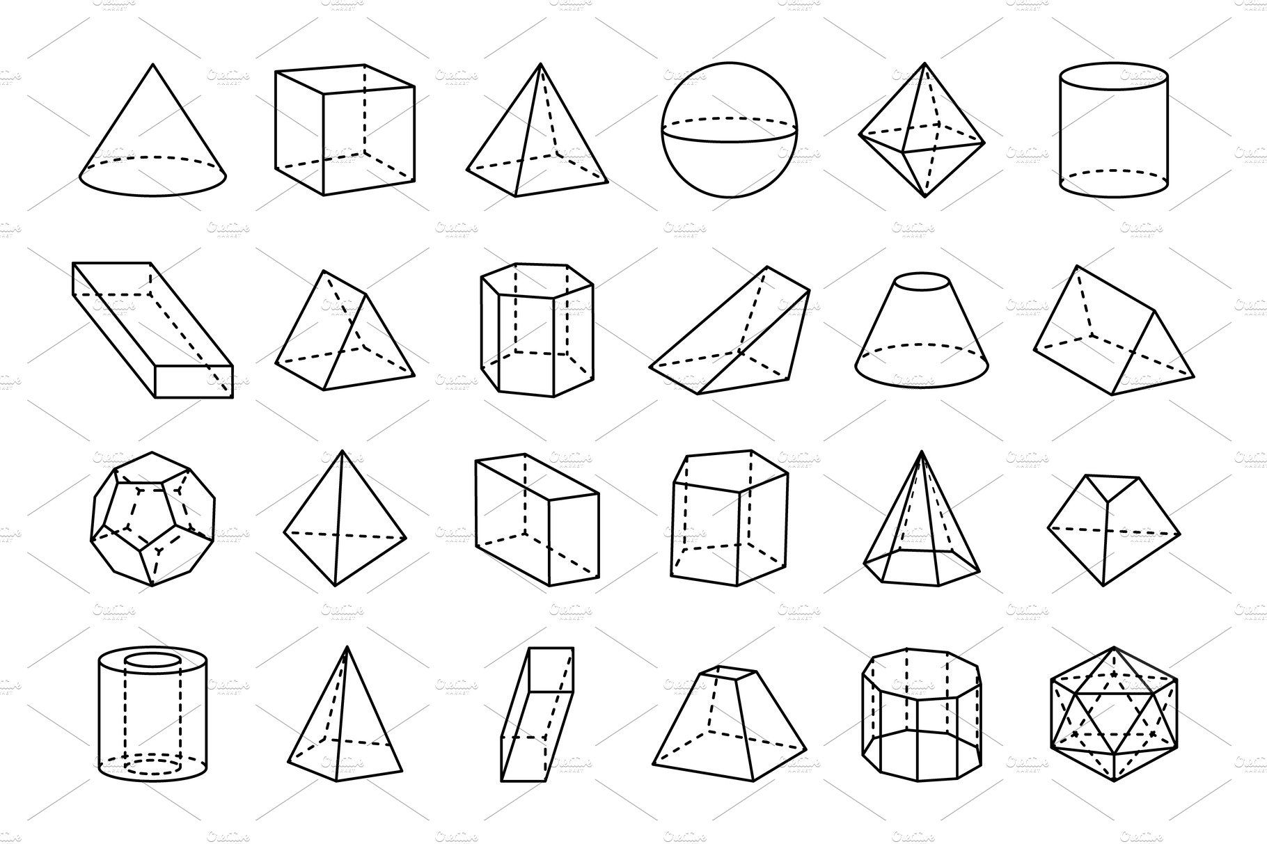 Collection Of Geometric Shapes Vector Illustration By
