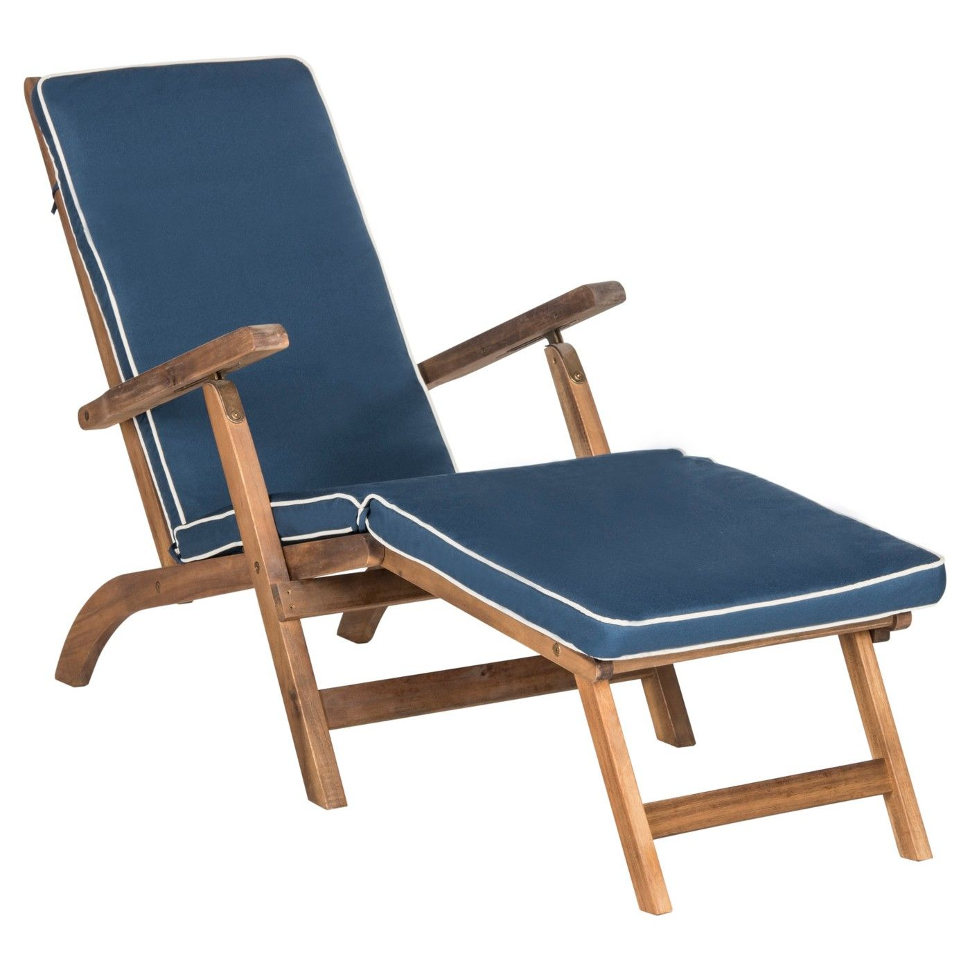 Palmdale Folding Lounge Chair Teak Brown / Navy