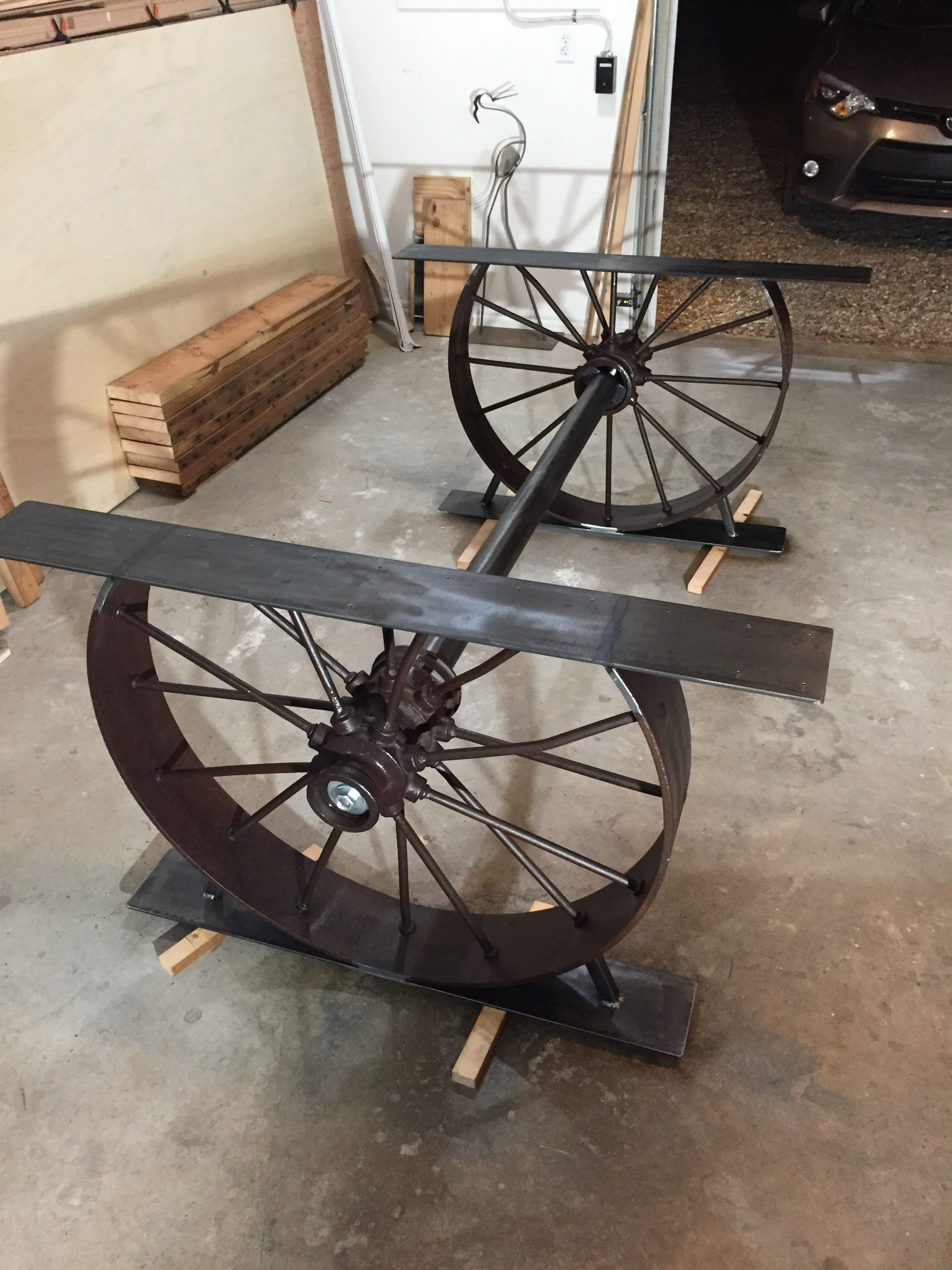 1920 Steel Wagon Wheels Cut Down And Welded 6 Wide Plate For Base Table Support Axle Was Fabricated With 3 This Set Up Weighs About 300 Lbs A