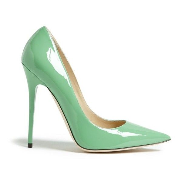 """Jimmy Choo 'Anouk' Pump, 4 1/2"""" heel (3.010 NOK) ❤ liked on Polyvore featuring shoes, pumps, heels, jimmy choo, jimmy choo shoes, heel pump, pointed toe shoes and shiny shoes"""