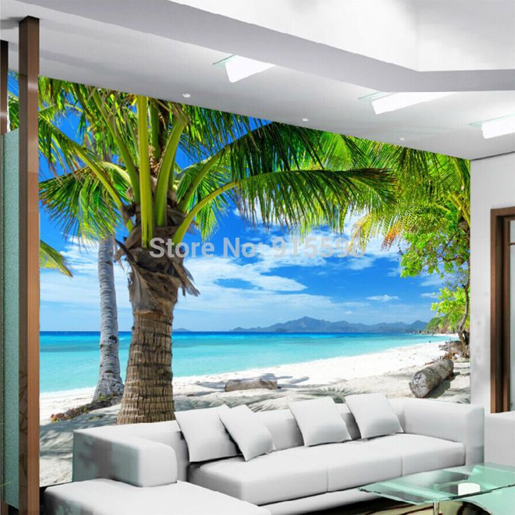 Wallpaper 3D Mural Coconut Palm Tree Beach Sea View Wall Paper ...