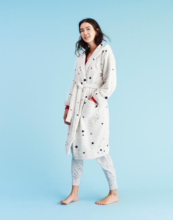 RITA Hooded Fleece Dressing Gown | Silver stars