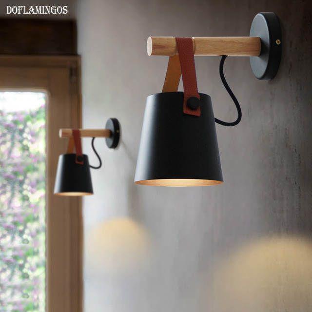 Lampes à mur LED Abajur pour salon appliques murales lumière E27 nordique en bois ceinture applique murale blanc/noir de la boutique en ligne | Aliexpress mobile