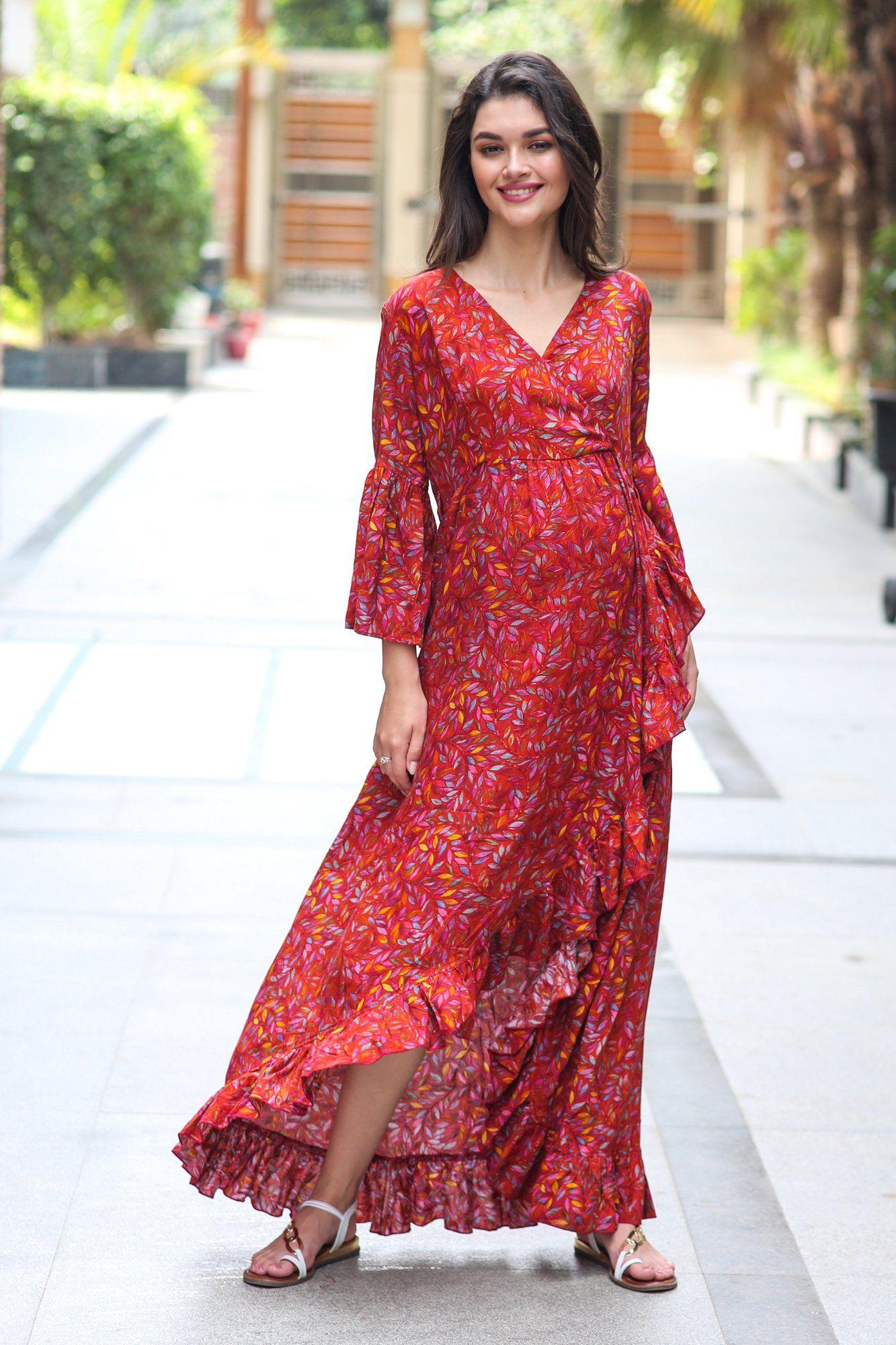Crimson Frill Maternity Nursing Wrap Dress Wrap Dress Dresses Womens Dresses [ 2000 x 1333 Pixel ]