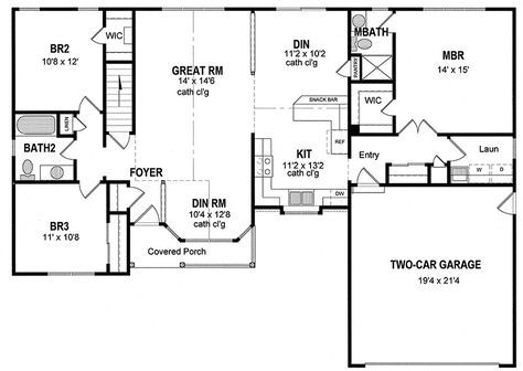 Plan 19506JF: Attractive One Level Home Plan