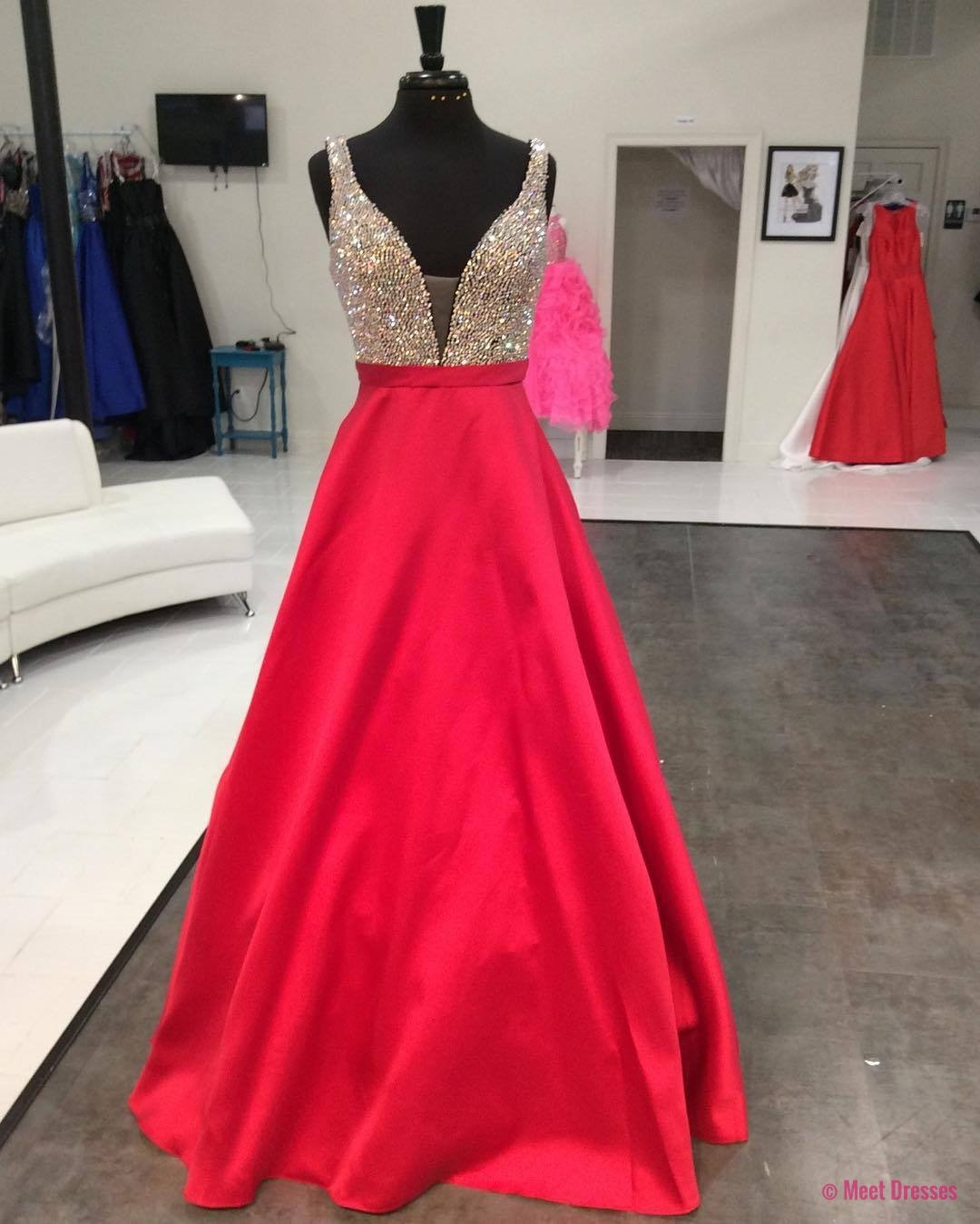 New arrival prom dressmodest prom dressred satin long prom dresses