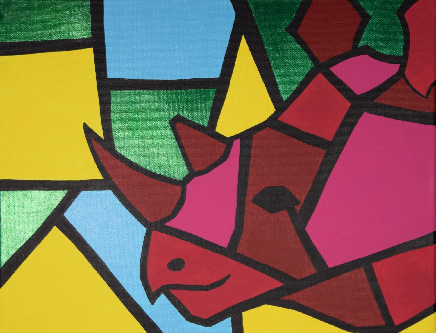 Pink Cubism Rhino Painting, 11x14 Acrylic Painting, \