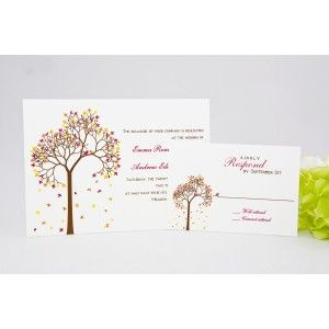 Tree Wedding Invitations; not really with our colors, but definitely with the season!