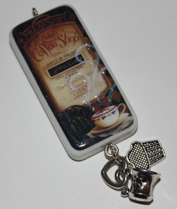 Romantic coffee shop window setting domino pendant with charms aloadofball Image collections