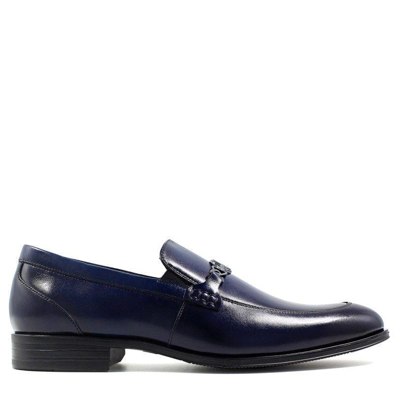 Leather · Stacy Adams Men's Spencer Memory Foam Moc Toe Bit Slip On Shoes (Ink  Blue Leather