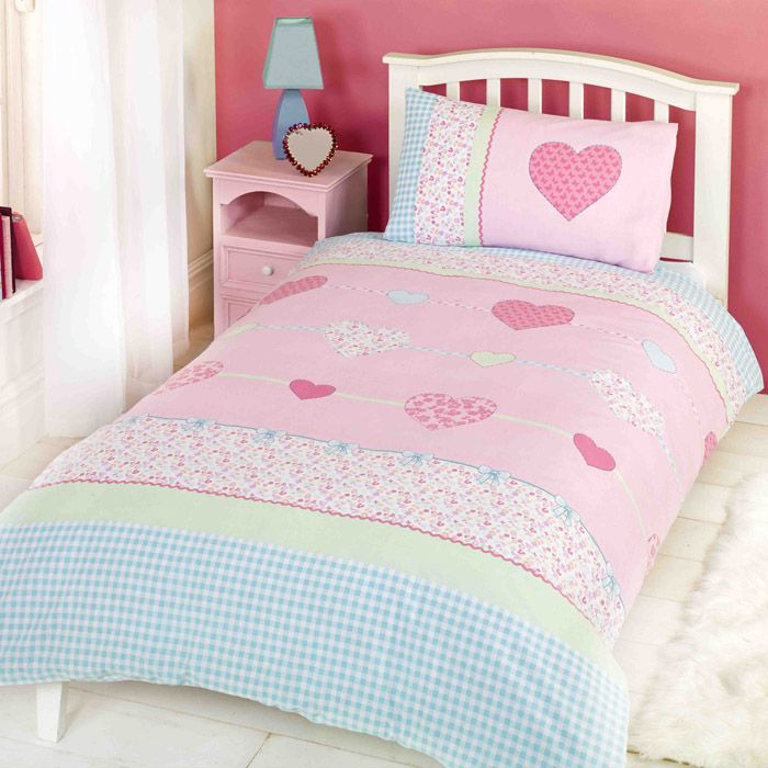 Millie Hearts Single Duvet Cover And Pillowcase Set Kids Bedroom