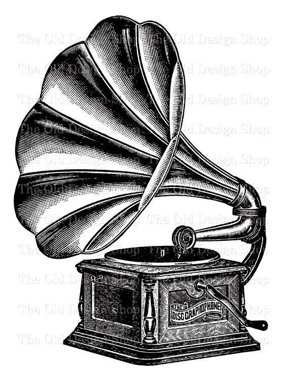 Gramophone Graphophone Music Clip Art Illustration Digital