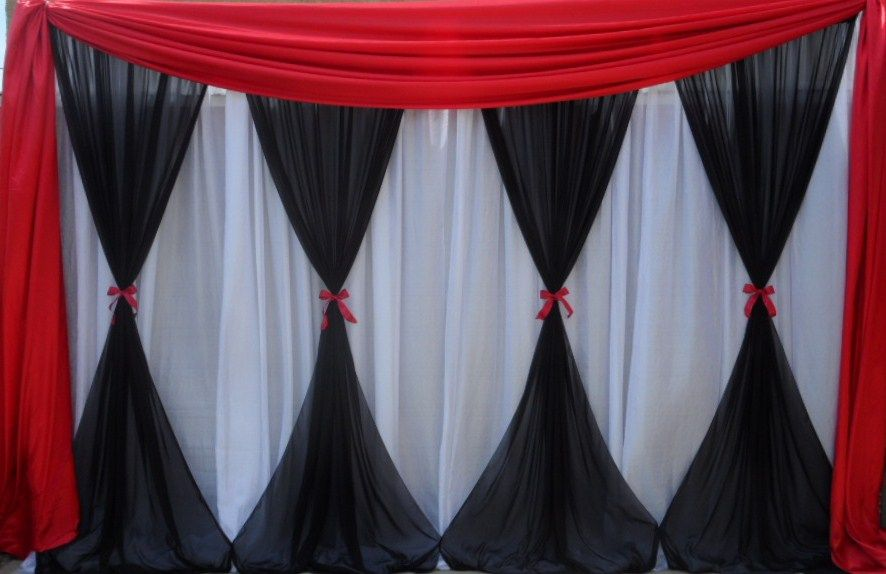 Black Red White Backdrop Wedding Ceremony Casino Party Party