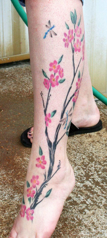 Cherry Blossom By Tattooedone On Deviantart Leg Tattoos Cherry Blossom Tattoo Beautiful Tattoos