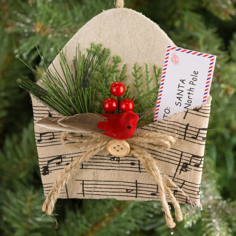 Envelope with Sheet Music Pattern Ornament