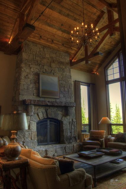great fireplace, mantle and great room timber