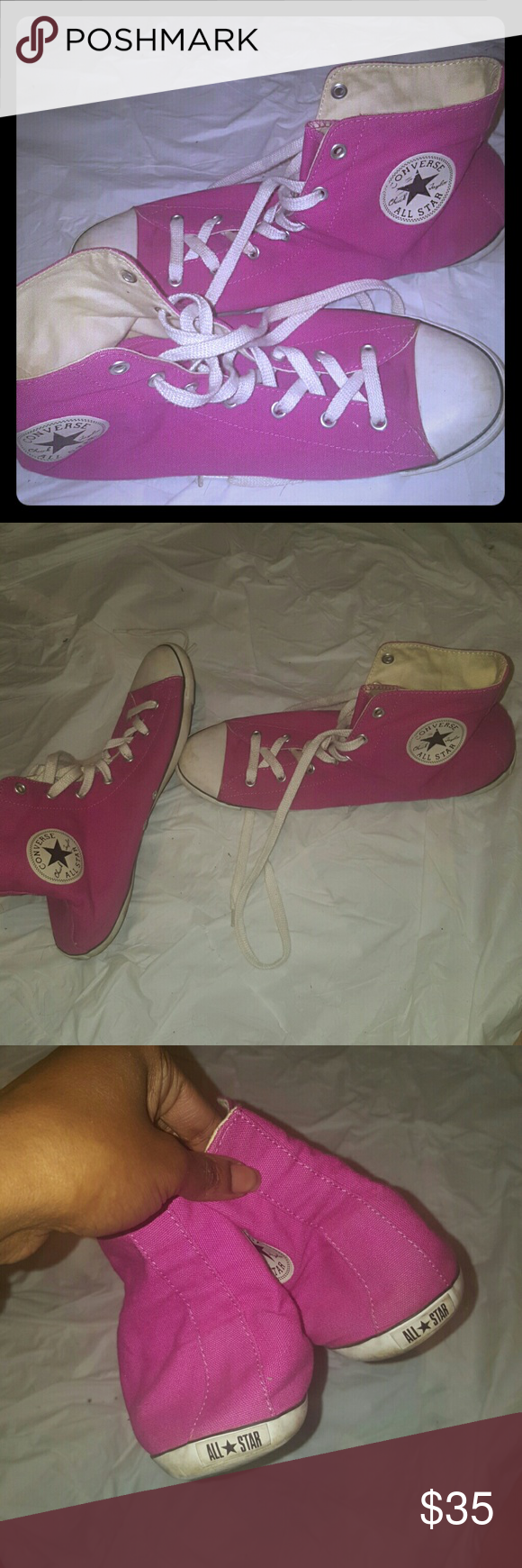 Converse pink Ladies size 11 few scuffs some wear but good condition color Converse Shoes Sneakers