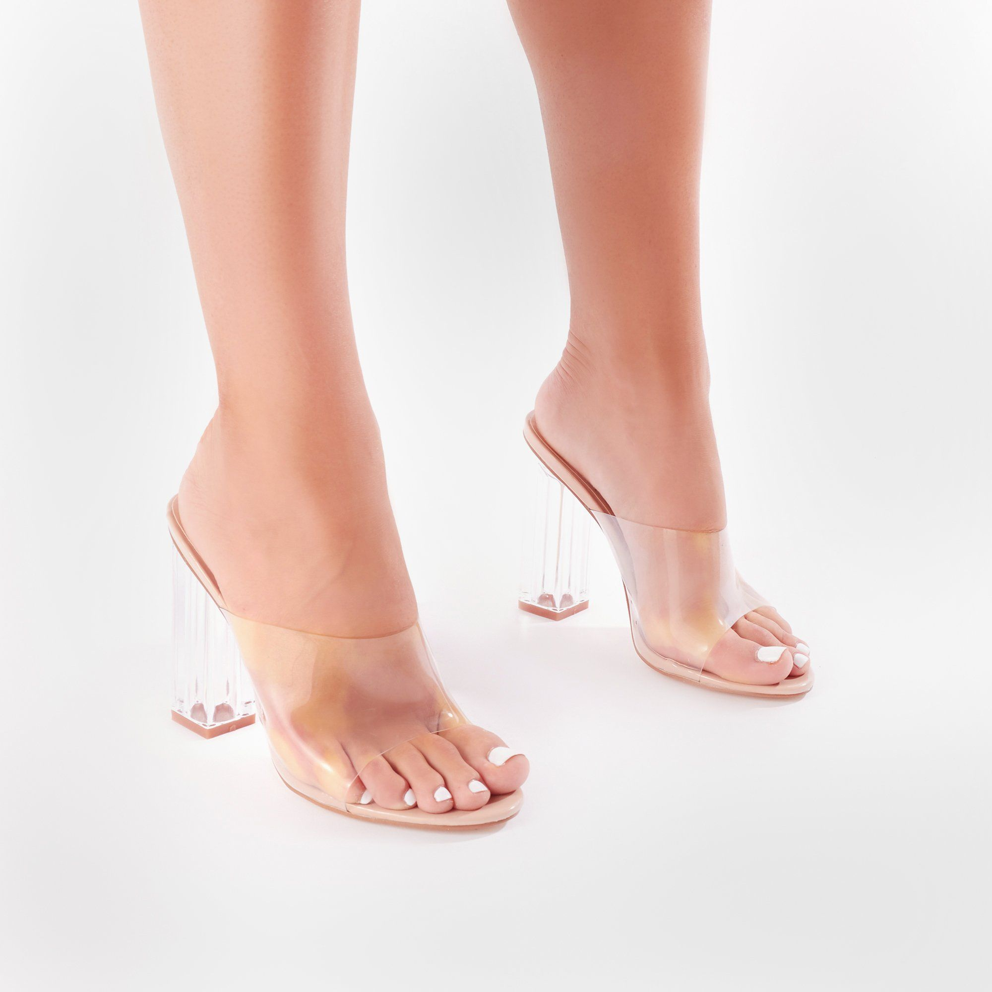 ca5693f6826 Fushion Clear Perspex Mules in Nude