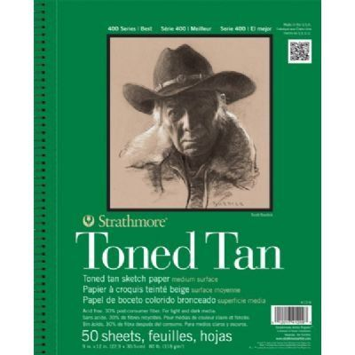 """3 Pack 9"""" x 12"""" Toned Tan Wire Bound Sketch Pad (Product Catalog: Paper Media, Canvas"""