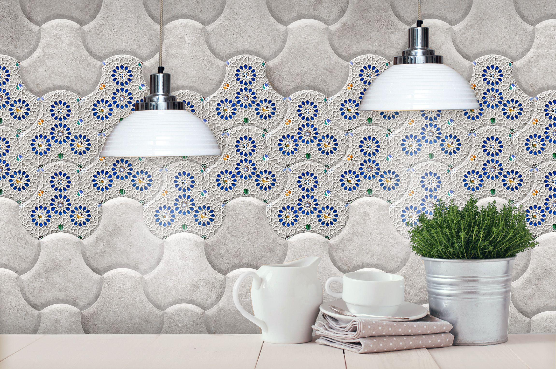 Ambient With Ceramic Reliefs With New Decoration And Effects In Colour Grey Ambiente Con Relieves Ceramicos Con Nuevos Efecto Azulejos Colores Grises Vidriado
