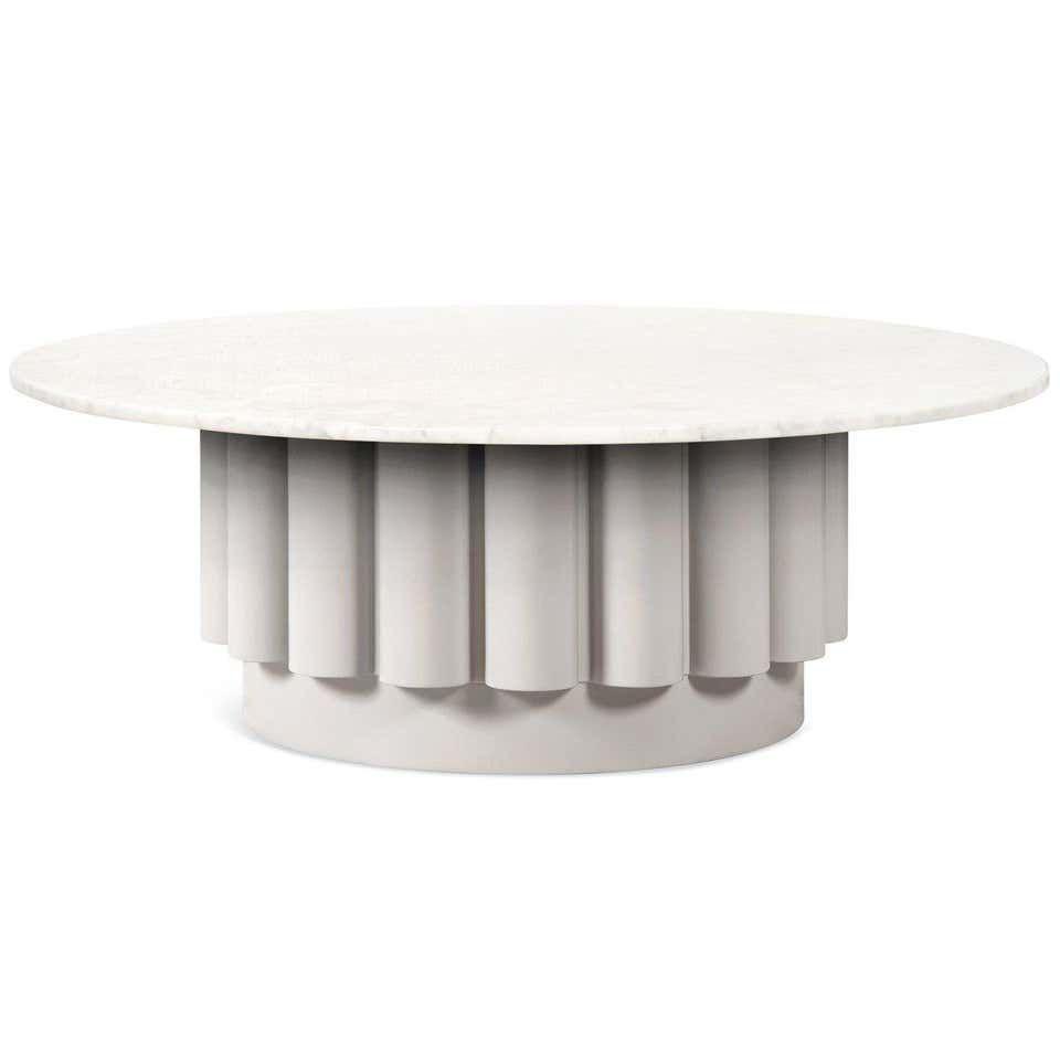 Round White Carrara Marble Top Coffee Table With Fluted Base Marble Top Coffee Table Marble Round Coffee Table Black Coffee Tables [ 960 x 960 Pixel ]