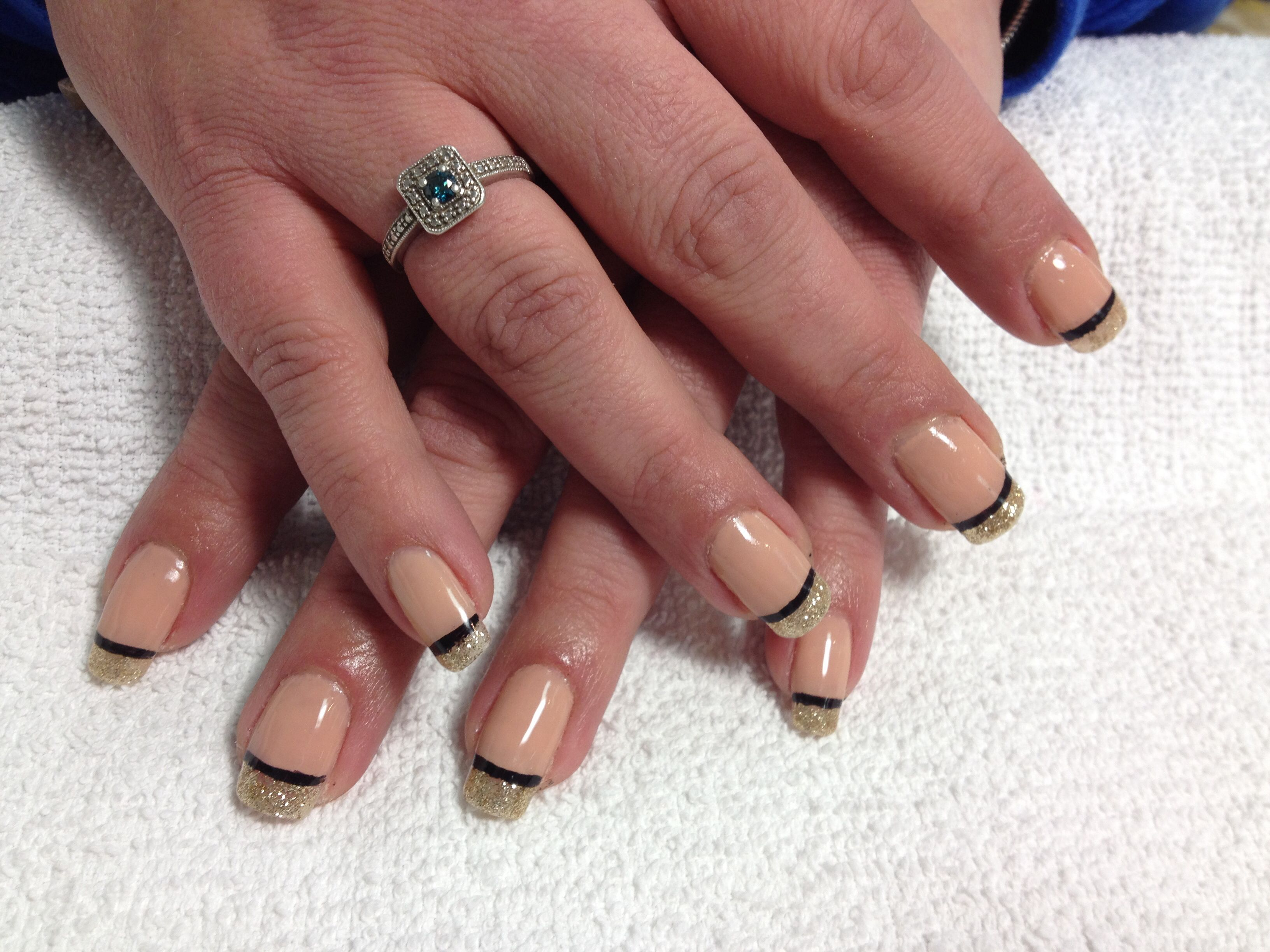 Beige with gold tips by DeeDee   nails   Pinterest