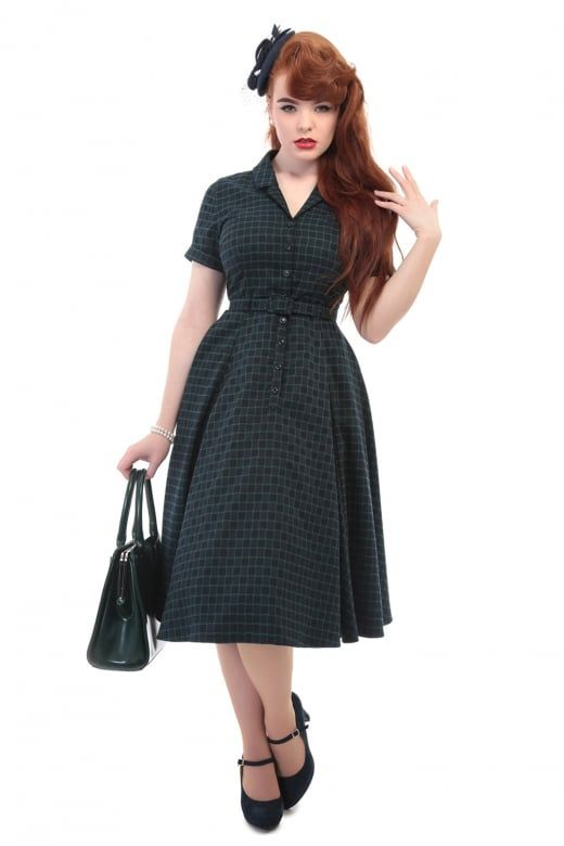 Collectif Vintage Caterina Chaise Check Swing Dress - Collectif Vintage from Collectif UK