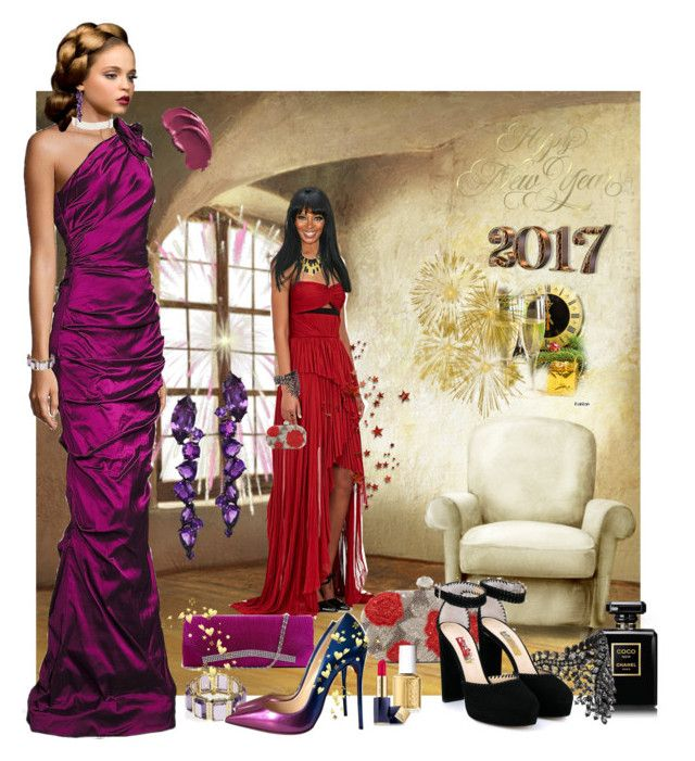 """Happy New Year 2017"" by jonna-hansen ❤ liked on Polyvore featuring Teri Jon, J. Mendel, Ashley Pittman, Santi, Erickson Beamon, Plukka, Jimmy Choo, Kenneth Jay Lane, Anakao and Christian Louboutin"