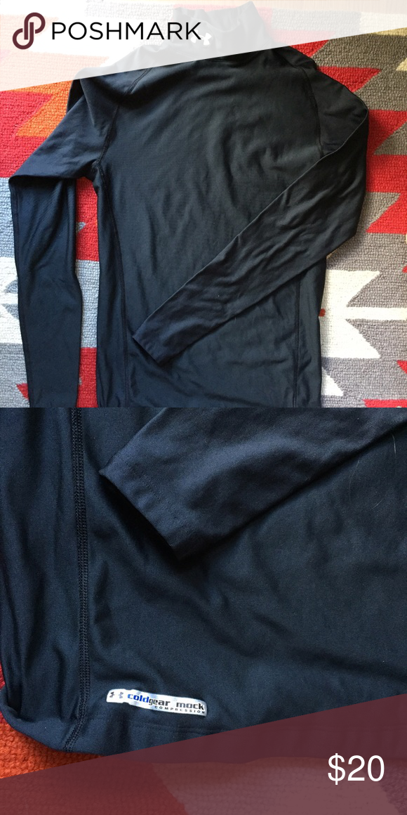 Under Armour Cold Gear Long Sleeve Under Armour Cold Gear shirt, compression fit in excellent condition. Only worn a couple times. Keeps the cold and the wind out, really comfortable with a slight turtle neck. Bottom has a grip strip that keeps the shirt in place. Under Armour Tops Tees - Long Sleeve