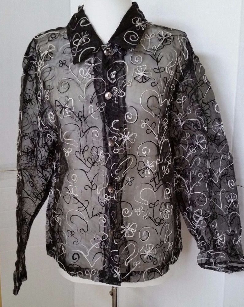 Tantrums Collection Button Down Shirt Womens size S Black Sheer Silk Top small #TantrumsCollection #ButtonDownShirt #EveningOccasion