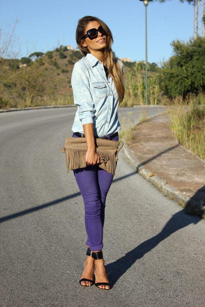 purple skinny jeans, fringed clutch , via seams for a desire