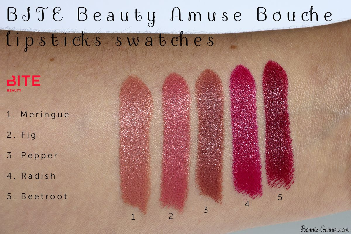 bite lipstick swatches fig | BITE Beauty Amuse Bouche lipsticks ...