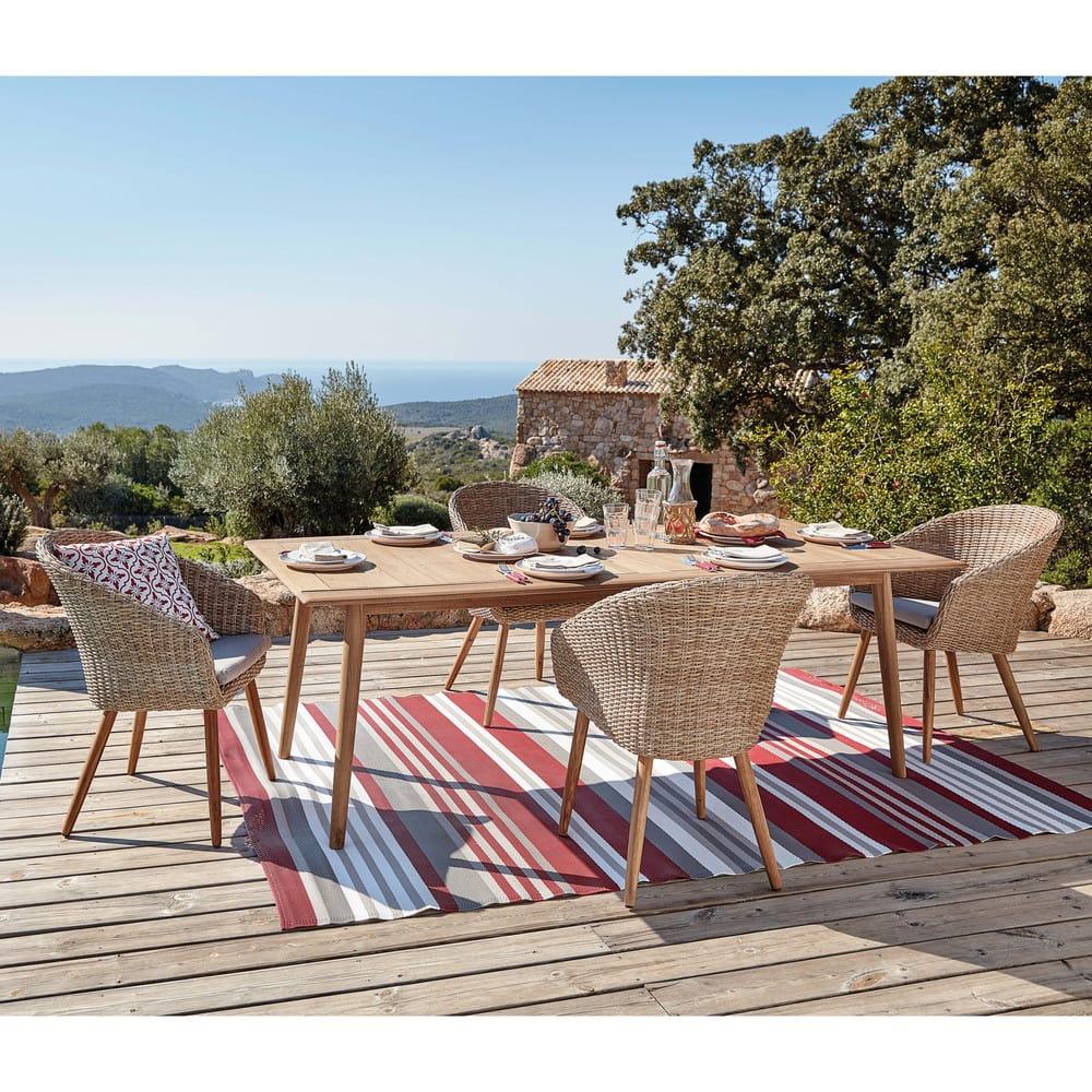 Sedia da giardino in resina intrecciata e legno massello ...