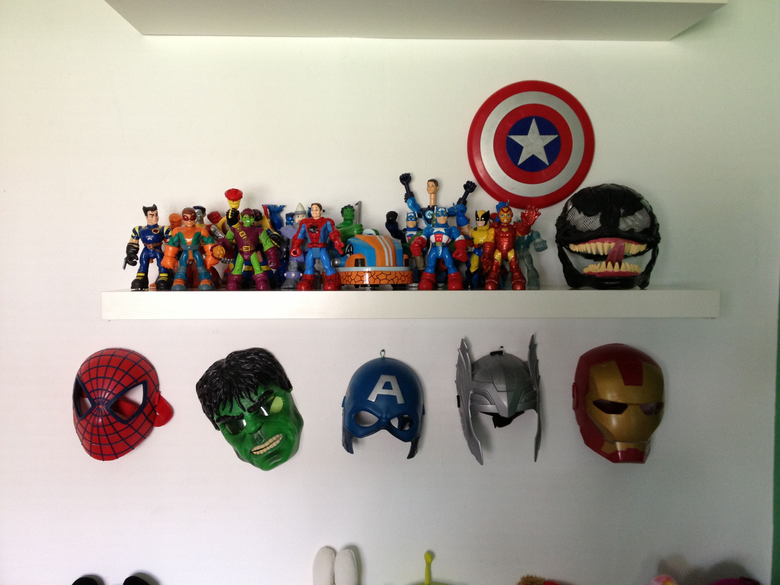 Marvel Bedroom Accessories Boys Bedroom Marvel Masks Figures Maddoxs Room Pinterest