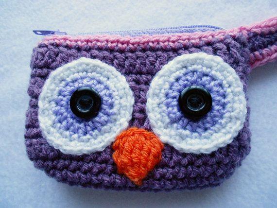 Cartera monedero rosado morado de búho tejido crochet por Lacebox