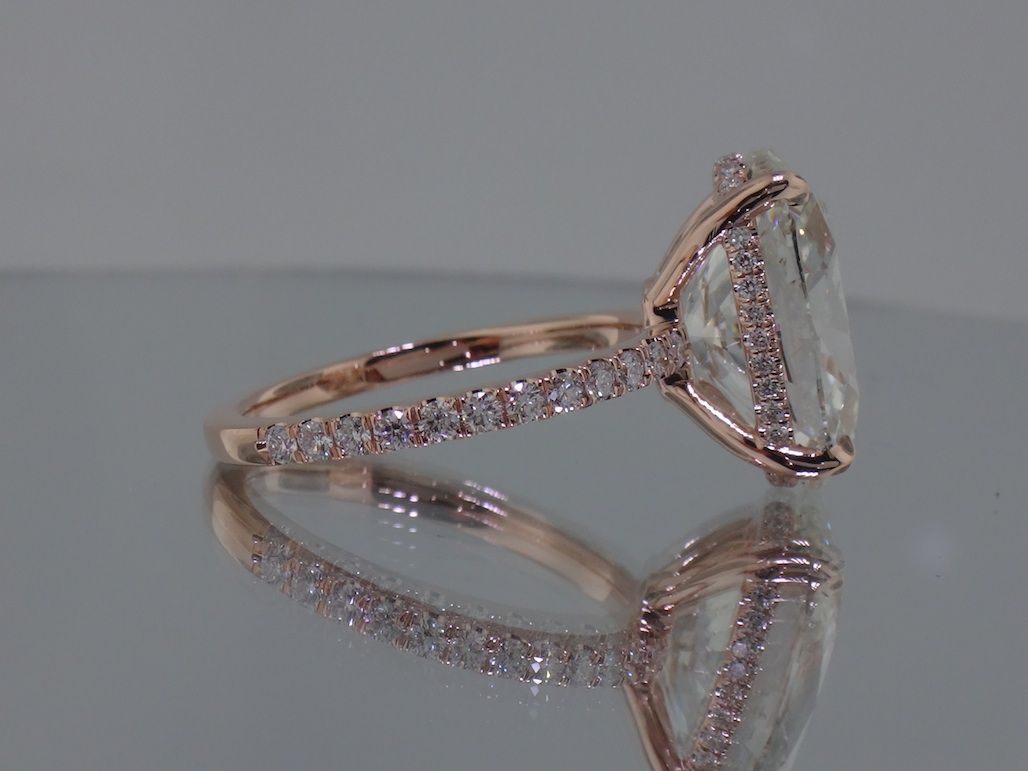 Josh Levkoff  Collection, Rings  Rose Gold Oval Custom Engagement Ring  With Micropave Diamonds