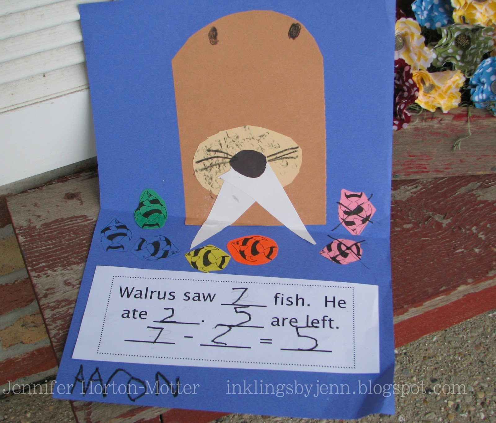 INKlings by Jenn - construction paper walrus (letter Ww as well as subtraction)