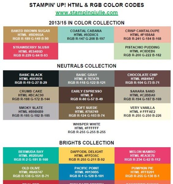 Stampin' Up! Html (Hex) & Rgb Codes New Color Collection Chart