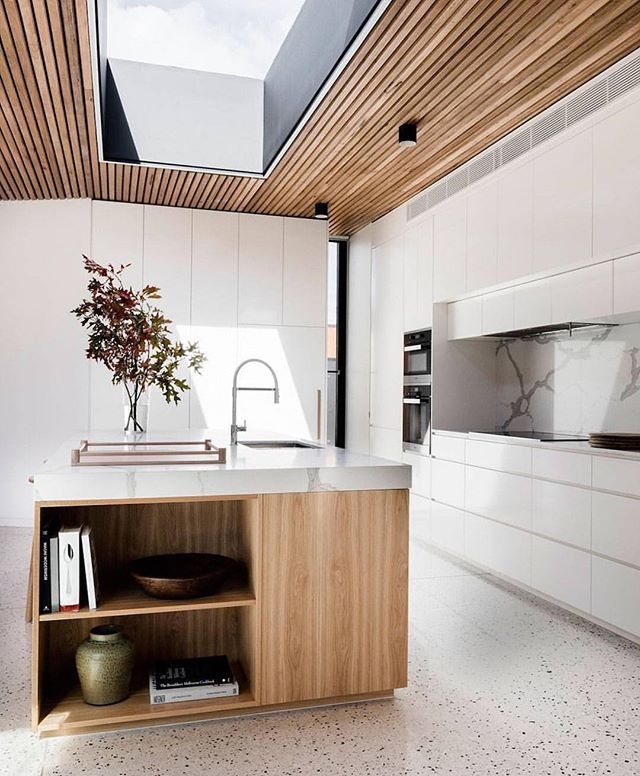 Polished Concrete Floor, Timber Kitchen Island, Marble