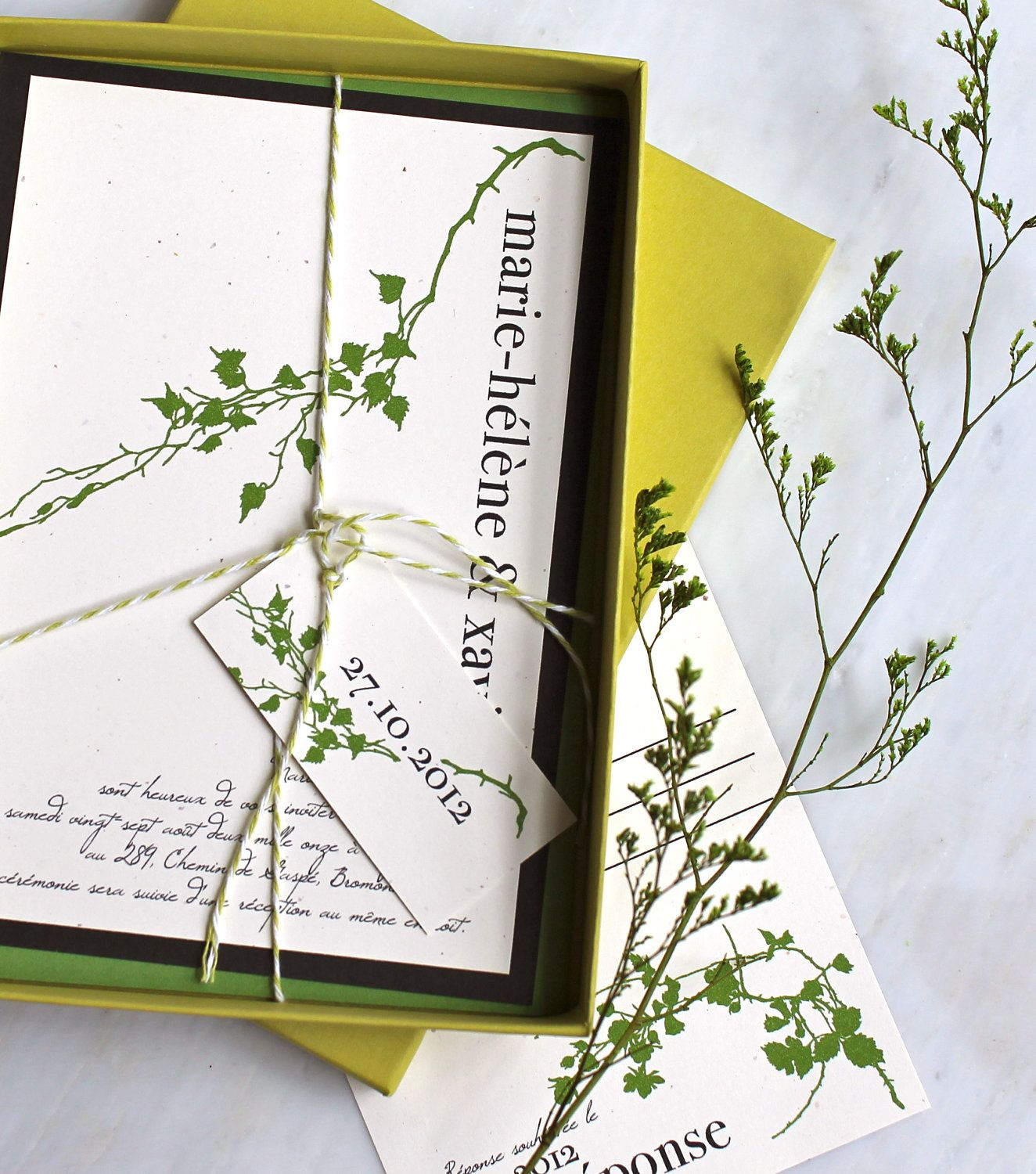 Wedding Invitations, Green Wedding Invitations, Outdoor Wedding ...