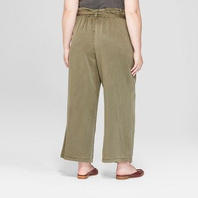 "d51fb04994e18 Women s Plus Size Tie Waist Wide Leg Crop Pants - Universal  Threadâ"" 20Olive 4X  Waist"