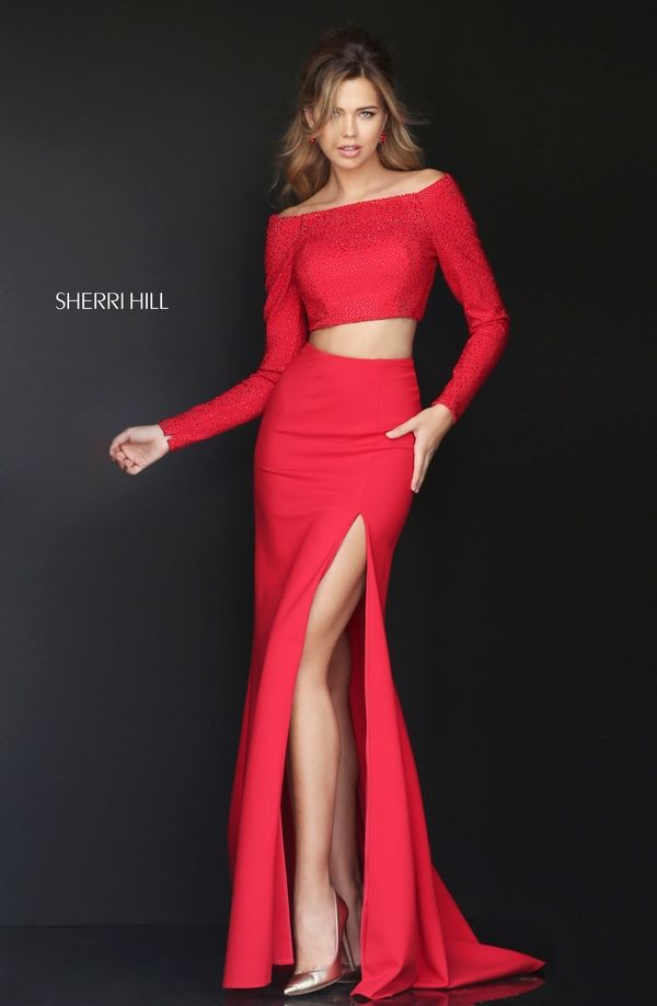 Combine elegance with sex appeal in the Sherri Hill 50209 two-piece prom  dress.
