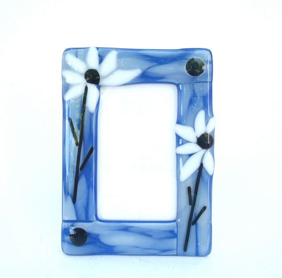 Fused stained glass photo frame white daisies on by Nostalgianmore ...