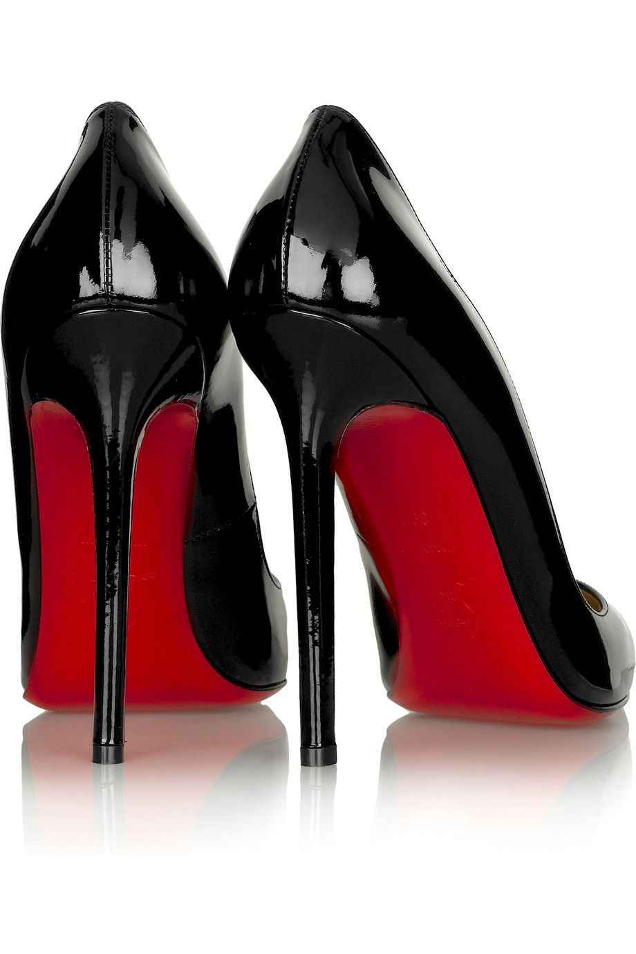 2ea4209bef Black patent-leather pumps with a heel that measures approximately / 5  inches. Christian Louboutin shoes have a pointed low-cut toe and signature  red ...