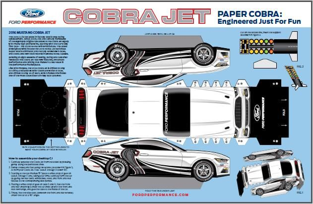 Chevrolet Paper Car Models Link 2016 S Ford Mustang Cobra Jet Paper Model By Ford Performance