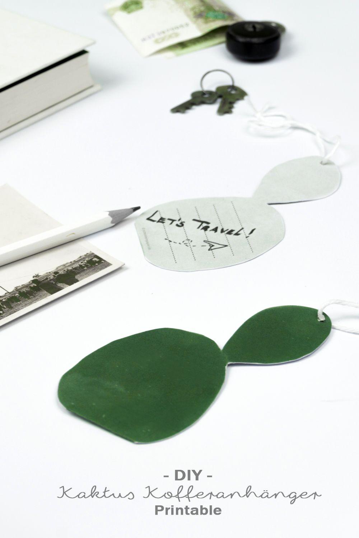 DIY Kaktus Kofferanhänger zum Ausdrucken | Kofferanhänger ...