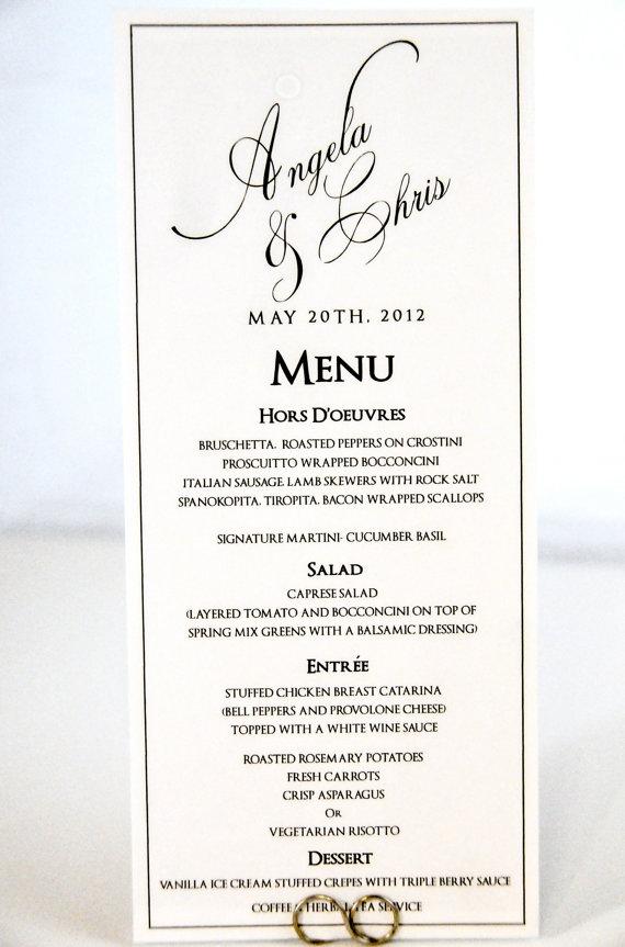 wedding menu card tea length calligraphy style with