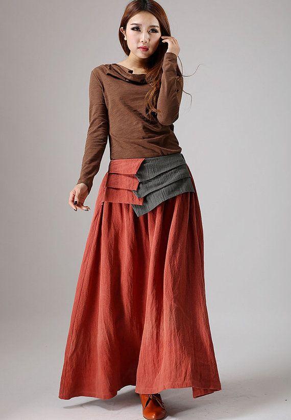 517bffaee Maxi falda larga, falda naranja, falda de lino, falda de las mujeres ...